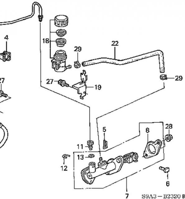2004 clutch master cylinder line connection and disconnected rh crvownersclub com Honda CR-V 2017 Honda CR-V Diagrams