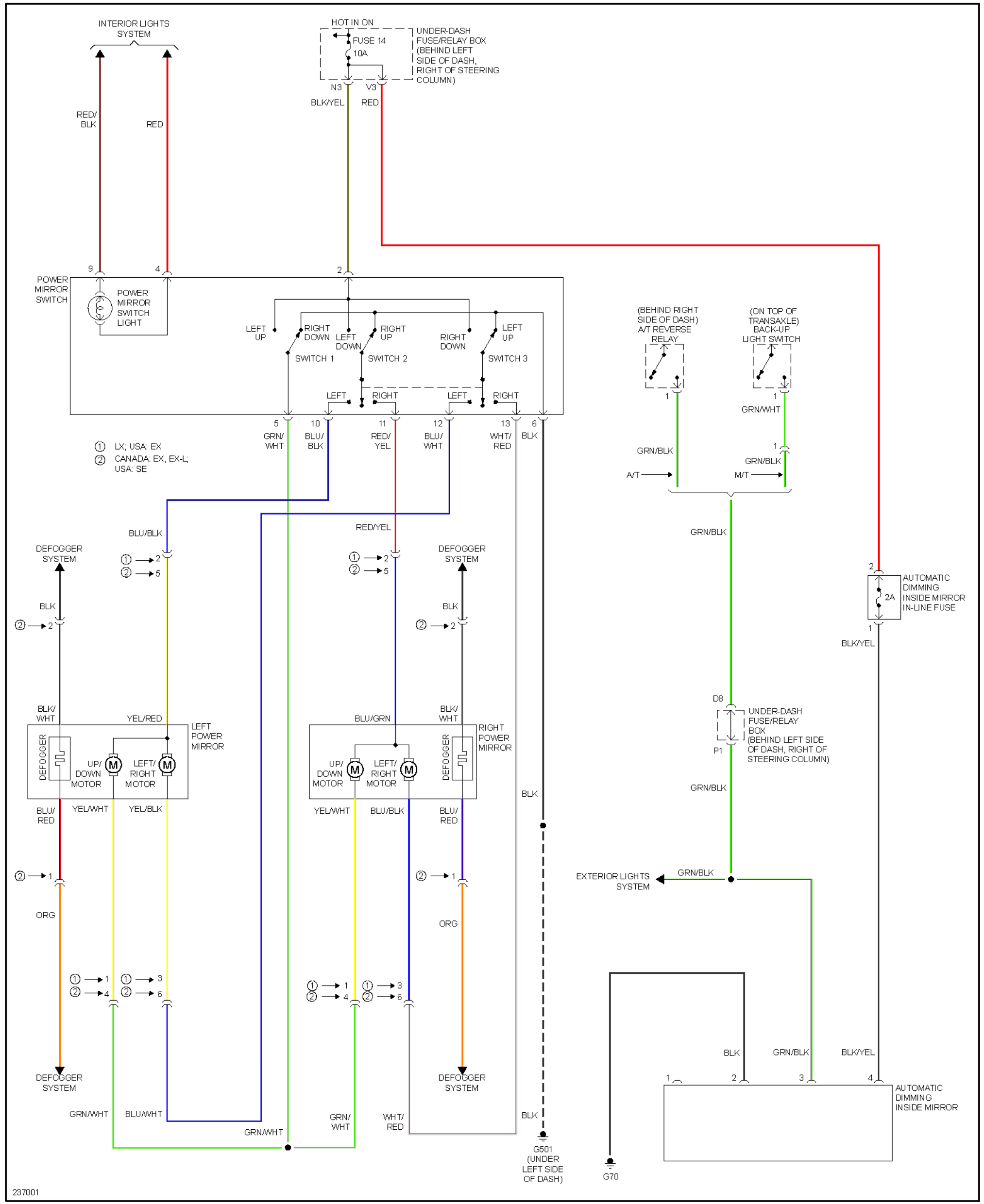 right (passanger) door mirror wiring diagram | honda cr-v owners club forums  crv owners club