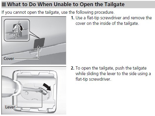Name 2012TailgateLatchAccess.jpg Views 1560 Size 40.8 KB  sc 1 st  Honda CR-V Owners Club & 2007 CR-V. Tailgate won\u0027t open. Does it share a fuse with the door ...