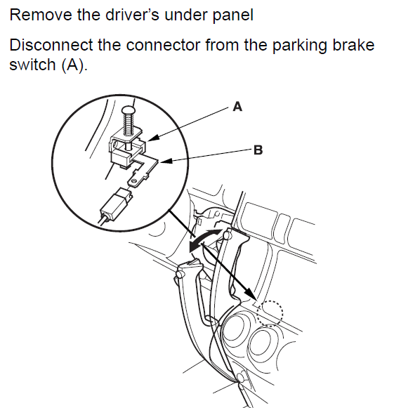 2003 crv  parking brake wire  ground when parking brake is on